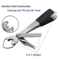 4 in 1 Quick Knot Tying Tool Fishing Clippers Line Cutter Nippers Snip w/ Zinger