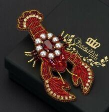 Lobster Brooch Embroidered Brooch Beaded Lobster Pin Rhinestone Sea Creature Pin
