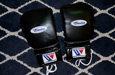 Winning Boxing Gloves Black Lace Up 16 oz Black 16oz MS 600