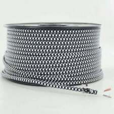 BLACK & WHITE ~ 2 WIRE Parallel ~ Antique Style Fabric Lamp Wire ~Price Per Foot