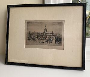 Antique Original Old Engraving Etching Glasgow Print Signed Framed Picture