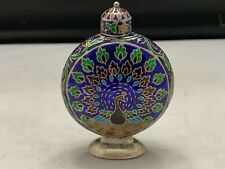 Antique Indian Enamel Cloisonné Sterling Silver Perfume Bottle Flask peacock WOW