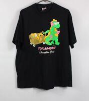 Vintage 90s Mens XL Dinosaur Print Short Sleeve Casual T-Shirt Shirt Black