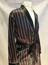 Mens Silk Satin Robe -       Black Burgundy White Stripe