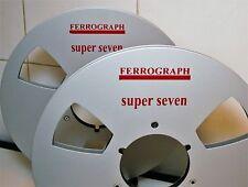 """2 X FERROGRAPH SUPER 7 THREE WINDOW METAL HUB REEL TO REEL 10.5"""" X 1/4"""""""