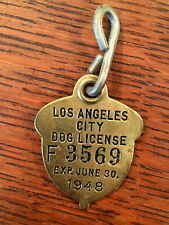 Antique Vintage 1948 Los Angeles Brass Dog Tag Tax License