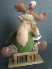 "Moose Plush  Winter Hat Scarf Boots Sitting on Wooden 2 Number Blocks Stand 13""T"