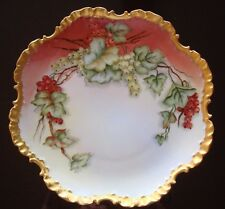 ANTIQUE ROSENTHAL BAVARIA HAND PAINTED SIGNED PLATE, RED CURRANTS & GOLD, 10""