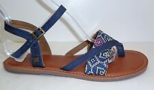 Toms Size 9 M LEXIE Navy Woven Ankle Strap Buckle Sandals New Womens Shoes
