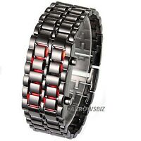 Volcanic Lava Samurai Metal LED Faceless Bracelet Wrist Watch Stainless Steel