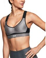 Under Armour 185267 Womens Knit High Support Sports Bra Gray/Black Size 32DD