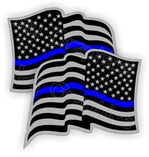 2 POLICE American Flag Hard Hat Stickers Flags USA Decals Helmet Thin Blue Line