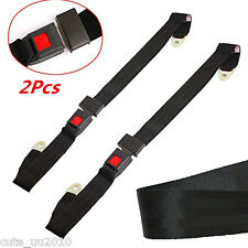2 Pcs 2 Point Retractable Adjustable Car Safety Seat Lap Belts Harness Kit Black