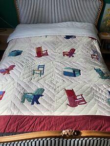 Unusual Vintage Patchwork Quilt Single/double