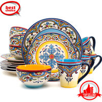 16 Piece Dinnerware Set Kitchen and Dining, Service for 4, Spanish Floral Design