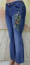 Relativity Women's Denim Jeans Stretch embroidered Butterfly & flowers size 8