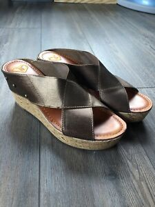 Madeline Womens Stretch Wedge Sandals Bronze Size 9.5M
