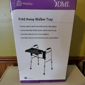 """DMI Medical Deluxe Folding Walker Tray Gray 16"""" x 12"""" New In Box FREE SHIPPING"""