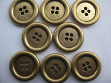 21mm Medium Gold Four Hole Sew Through  Vintage Coat  Sewing Buttons Set of 8