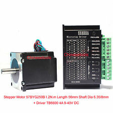 Stepper Motor 57BYG250B 1.2 N.m L 56mm OD shaft 6.35mm + Driver 0.5-4A DC 9-40V