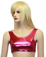 New Ladies Women Shiny Metallic Dance Crop Top Vest Top 5 Colours