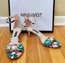 NINE WEST 'Leisa' Light Pink Floral Kitten Heel Ankle Strap Sandals Size 7.5M