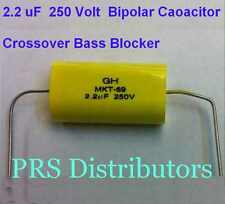 2.2 uF 250 Volt BIPOLAR CAPACITOR BASS BLOCKER SPEAKER TWEETER CROSSOVER 1 Piece