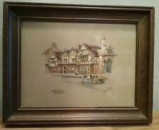 "Print By Clyde Cole- ""White Swan Stratford"" 7.5x9.5"" framed"