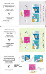"""M435 ECUADOR 3 FIRST DAY COVERS """"SATELITE"""" SPACE - KENNEDY -"""
