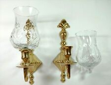 2 Beautiful Brass Candle Wall Sconces with Glass Shades Made in India