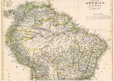 🎄🕯🎄🕯 143 Jahre alte Landkarte BRASILIEN Venezuela Ecuador Peru Bolivien 1875