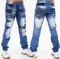 Pantalones Vaqueros De Hombre highness Loose Fit Men ´S ROPA PARCHES W29 30 31