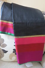 Black Tussar Silk Pink Border Saree with Blouse Piece