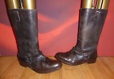 *42* H BY HUDSON BROWN LEATHER STUD MID CALF BOOTS  UK 4 EU 37
