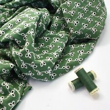 Coloured Cotton Broderie Anglaise - Basil Green 6 - Dressmaking Fabric Fashion S