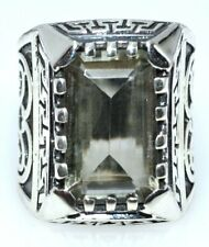 Green Amethyst Mens Emerald cut Ring; Size 7 O Solid 925 Sterling SILVER Rings
