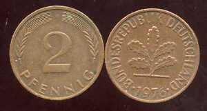 ALLEMAGNE  germany   2 pfennig  1976 F