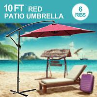 10FT Patio Umbrella Sun Shade Offset Outdoor Beach Yard Market W/Cross Base Red