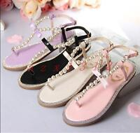 Womens Sandals Slingbacks T Strap Pearl Roman Hot Sale Beach Shoes Summer