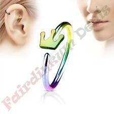 316L Surgical Steel Rainbow Ion Plated Nose & Ear Cartilage Ring with Crown