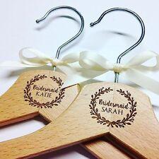 5x Personalised Wooden Bridal Hangers - Bridesmaid/Wedding Dress/Vintage/Gift