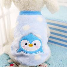XS Light Blue Pengu Pet Dogs Flannel Clothes Vest Puppy Autumn Winter Waistcoat