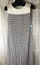 LONDON TIMES Tiered Sheath Dress Gray Cream Sleeveless Striped 10 NWT