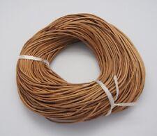 5 Mètres 5m de fil lacet Cordon rond 2mm, vrai cuir BRUT (non teint)