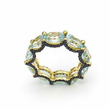 Women Ring Natural Stone Blue Topaz Sapphire Stackable Rings Love Life Happiness