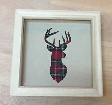 Stag Deer Head with Tartan Background In Deep Box Frame