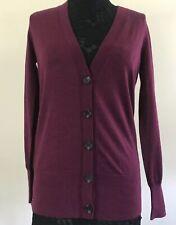 Ann Taylor LOFT Womens Burgundy Red Button Down Cardigan ~ Sz XS Wool Blend New!