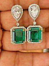 9Ct Cushion Green Emerald Simulant Diamond Dangle Drop Earrings Silver Gold Fns