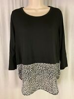 Michael Kors Women's Size S Black White Long Sleeve Animal Print Hem Soft EUC