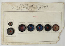 Présentoir 7 bouton ancien XIX métal peint antique buttons 2 tailles mercerie